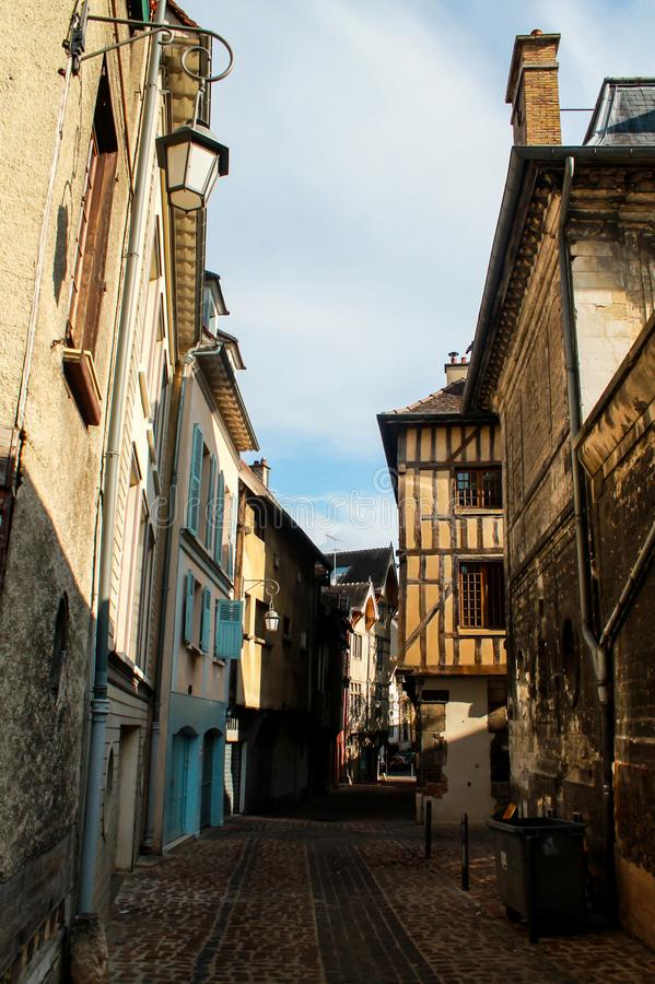 Alley in Troyes royalty free stock images