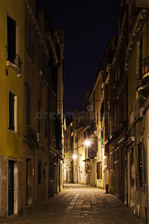 Alley in Venice at night