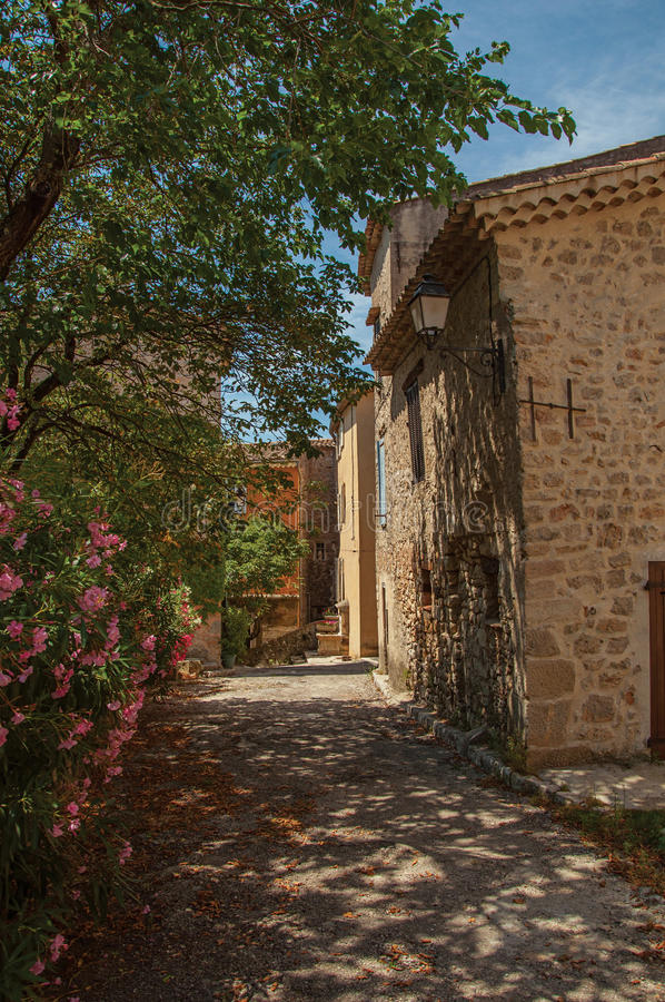 Alley view with house and flowers in Châteaudouble. Alley view with house and flowers in Châteaudouble, a quiet and tourist village with medieval origin stock photography