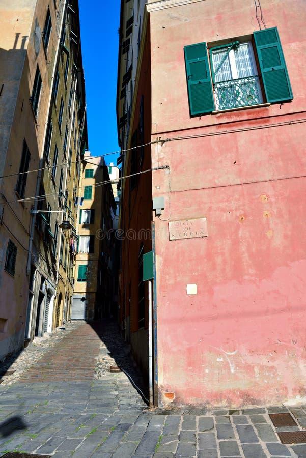 Genoa liguria italy. The alleys of the historic center of Genoa Italy royalty free stock photography
