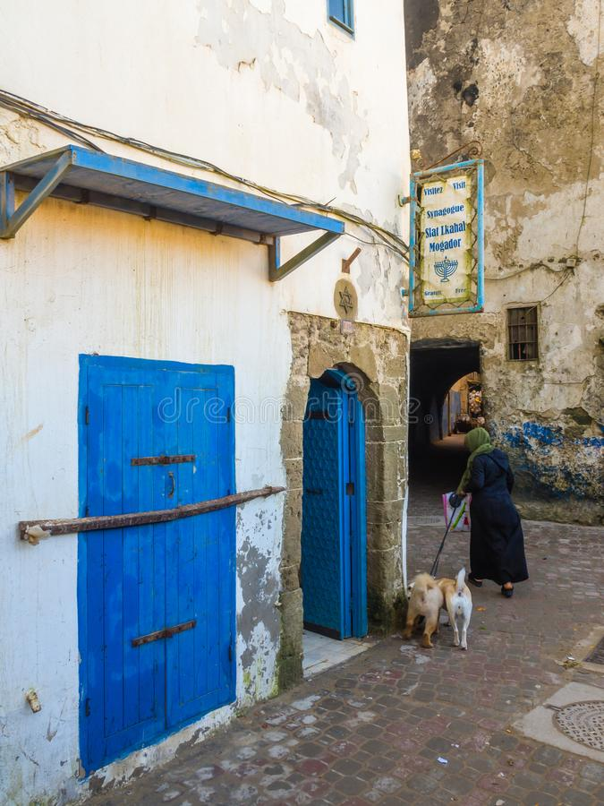 From the alleys of the medina in Essaouira. Synagogue Slat Lkahal in the alley of the medina in Essaouira, Morocco royalty free stock photo