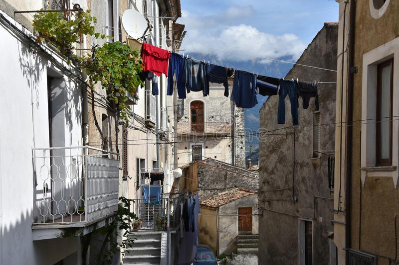 Narrow alleyway in the old town of Morano Calabro. Alleyway in the ancient village of Morano Calabro in Calabria, southern Italy royalty free stock photography
