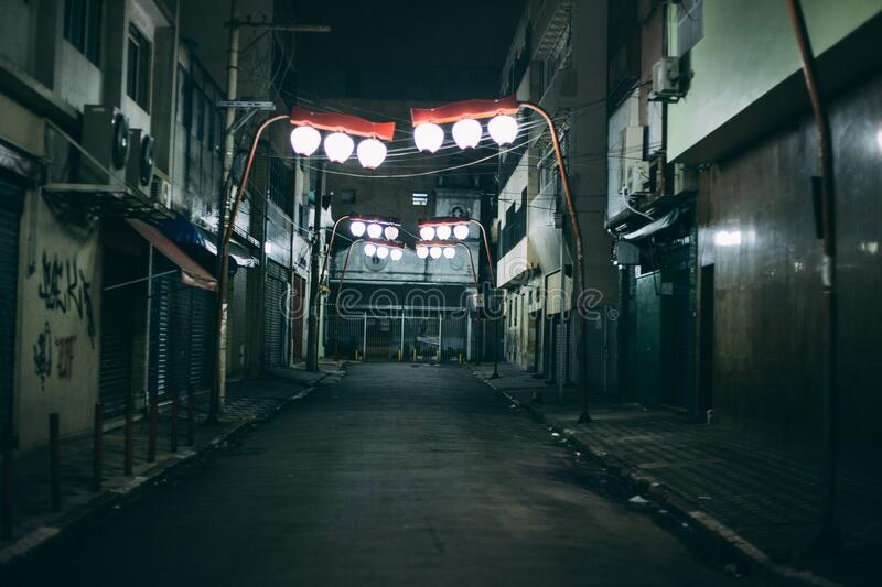 Alleyway in Asian town stock photos