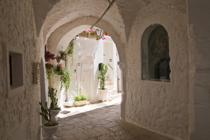 Alleyway. Cisternino. Puglia. Italy. royalty free stock image