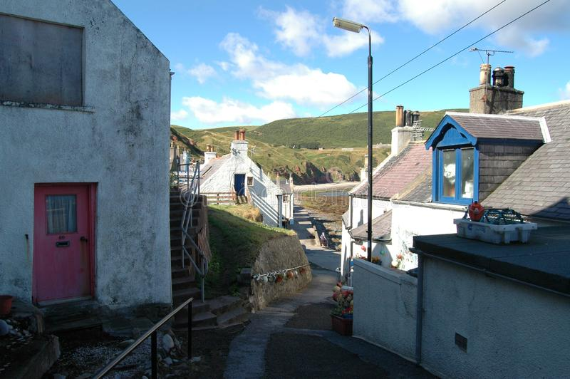 Alleyway in Gardenstown, Scotland stock image