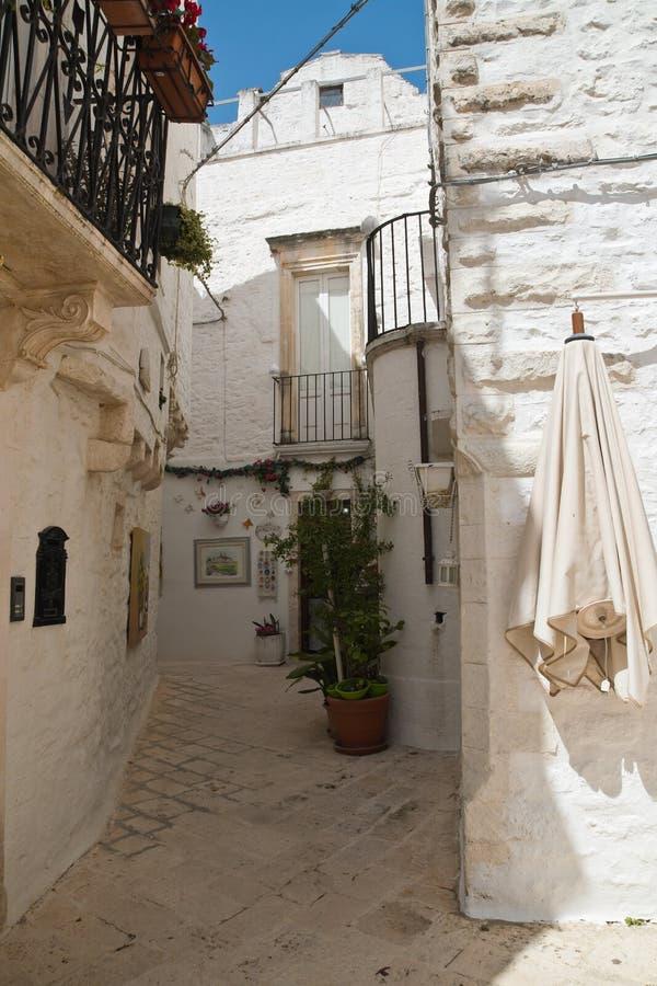 Alleyway. Locorotondo. Puglia. Italy. Alleyway of Locorotondo. Puglia. Italy royalty free stock image