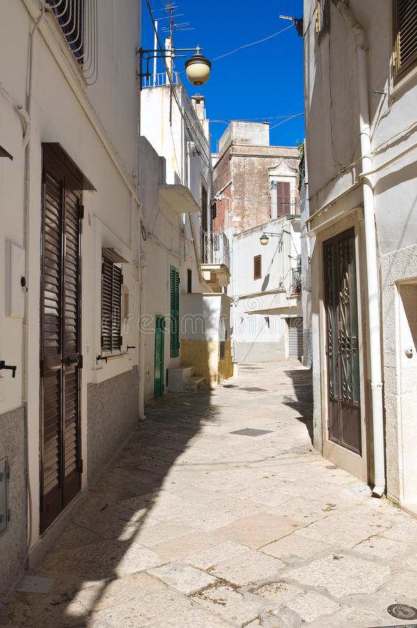 Alleyway. Noci. Puglia. Italy. Perspective of an alleyway of Noci. Puglia. Italy royalty free stock photo