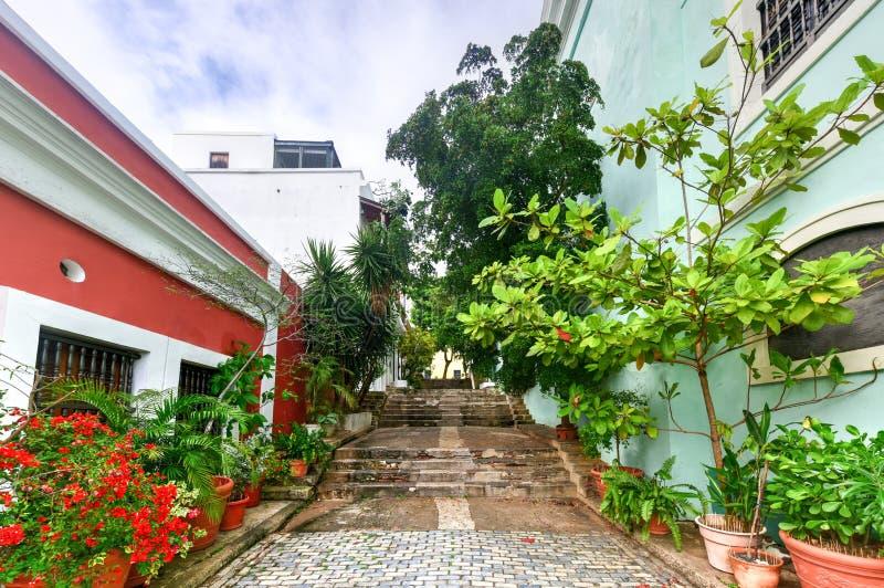 Alleyway in Old San Juan, Puerto Rico. Street and alleyway in Old San Juan, Puerto Rico royalty free stock photo