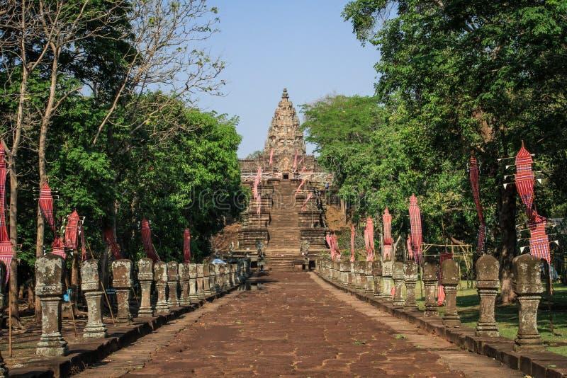 Alleyway to the Phanom Rung temple around Nang Rong, Buriram, Thailand. Phanom Rung or full name, Prasat Hin Phanom Rung Phanom Rung Stone Castle, is a Hindu royalty free stock images