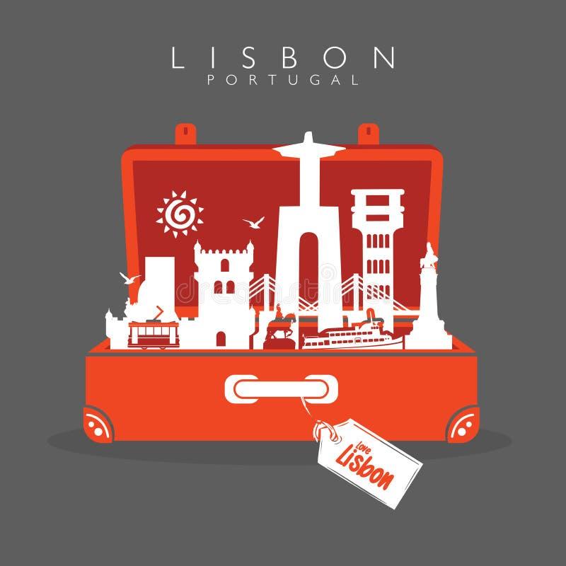 Allez à Lisbonne Monuments de voyage de Lisbonne de valise à Lisbonne Laisse aller illustration libre de droits