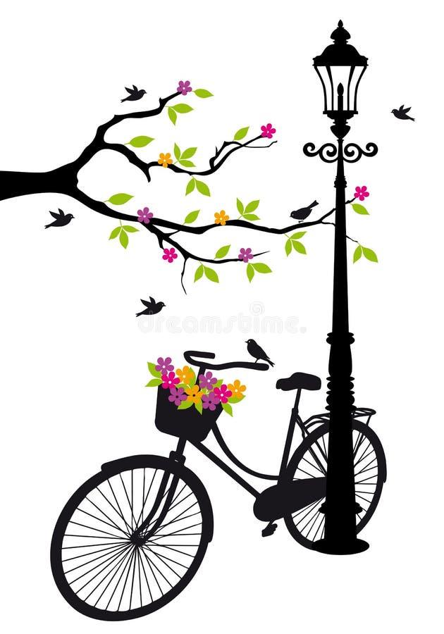 Allez à vélo avec la lampe, les fleurs et l'arbre, vecteur illustration de vecteur