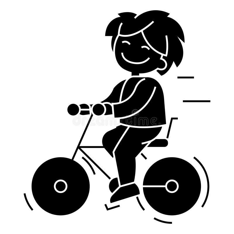 Allez à vélo, icône d'équitation de garçon, illustration de vecteur, connectez-vous le fond d'isolement illustration de vecteur