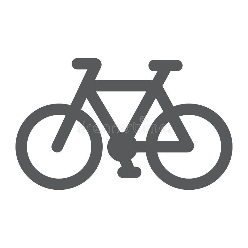 Allez à vélo l'icône de glyph, le cycle et le sport, signe de vélo, les graphiques de vecteur, un modèle solide sur un fond blanc illustration de vecteur