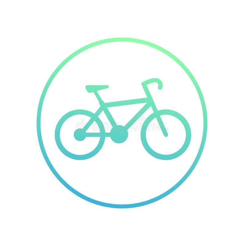 Allez à vélo l'icône en cercle sur le symbole blanc et faisant un cycle illustration stock