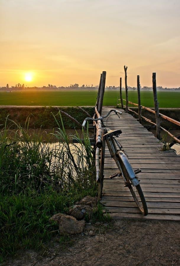 Allez à vélo sur la barrière en bois du pont au coucher du soleil images libres de droits
