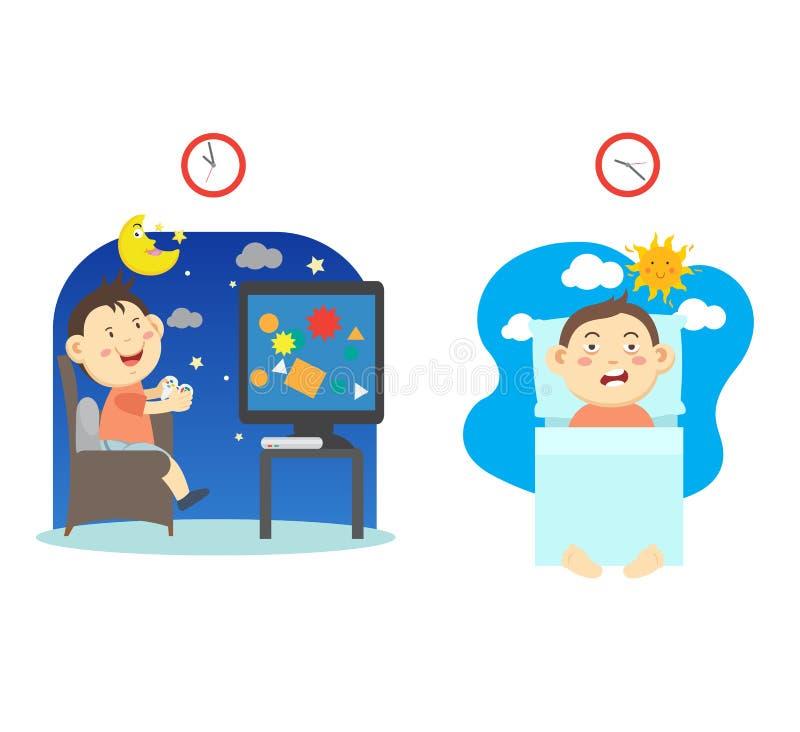 Allez au lit tard et ayez le sommeil de pauvres, illustration illustration stock