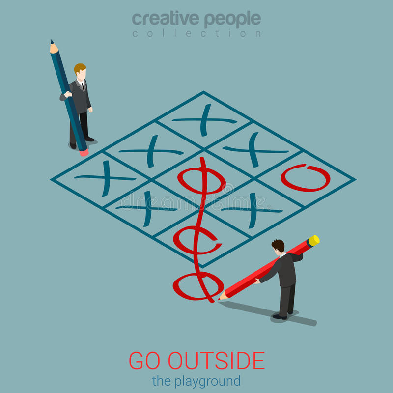 Allez en dehors de l'orteil de tac de tic d'affaires de règles de plan de terrain de jeu isométrique illustration de vecteur