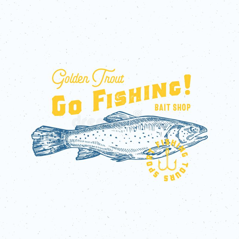Allez pêcher la truite d'or Signe, symbole ou Logo Template abstrait de vecteur Poissons tirés par la main de truite avec rétro c illustration stock