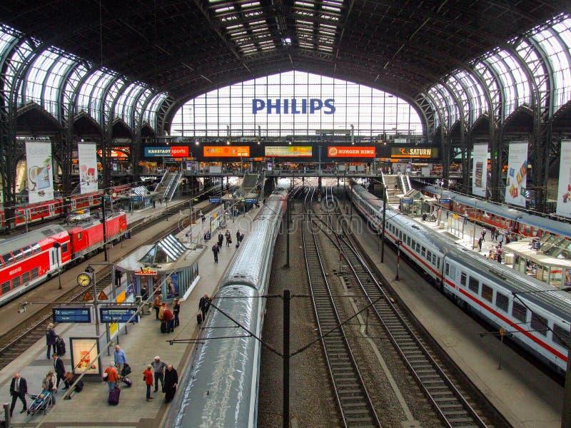 Allgemeine Ansicht über zentralen Schienenanschluß Hamburgs lizenzfreies stockbild