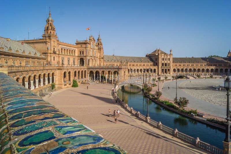 Allgemeine Ansicht der Spanien-Quadratpiazzas de Espana in Sevilla stockfotos