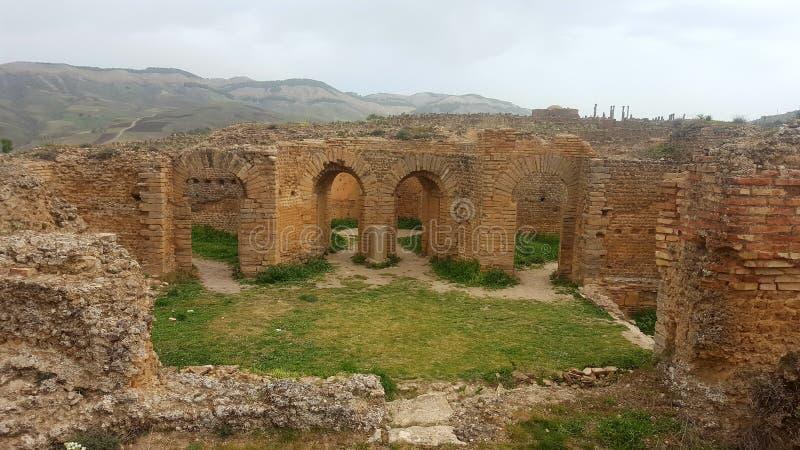 Allgemeine Ansicht des Forums, ruin& x27; s von djemila, Algerien stockbilder