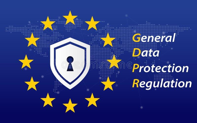 Allgemeine Daten-Schutz-Regelung nannte Konzept GDPR 2018/2019 EU kennzeichnen Digital-Umwandlung und Sicherheitsthema Vektor lizenzfreie abbildung