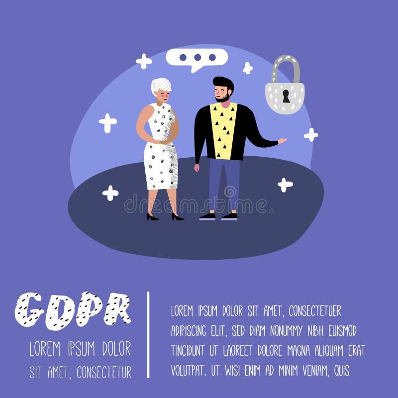 Allgemeine Daten-Schutz-vorgeschriebenes Konzept mit Charakteren für Plakat, Fahne GDPR-Prinzipien für die Personendaten lizenzfreie abbildung