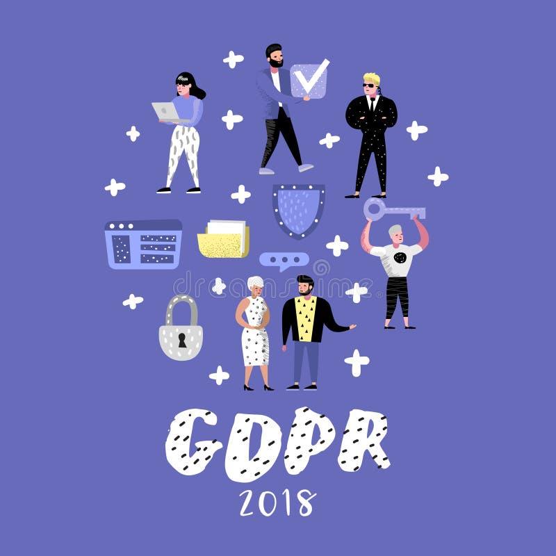 Allgemeine Daten-Schutz-vorgeschriebenes Konzept mit Charakteren GDPR-Prinzipien für die Verarbeitung personenbezogene Daten stock abbildung