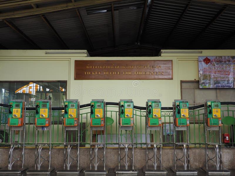Allgemeine Münztelefone an der Bangkok-Hauptleitungsbahnstation lizenzfreie stockfotografie
