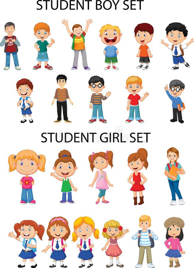 Allgemeine Materialien - Mädchen- und Jungenzahlen stock abbildung