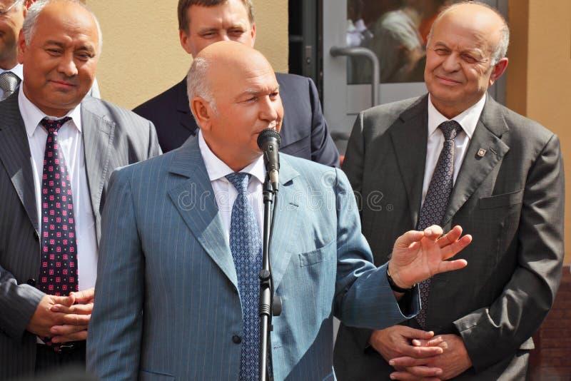 Allgemeine Rede des Bürgermeisters Luzhkov stockbild