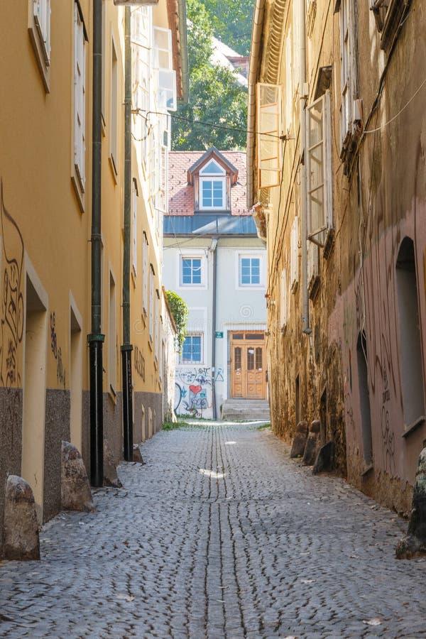 Allgemeine Stadtbildansicht mit verschiedenen Häusern lizenzfreie stockfotos