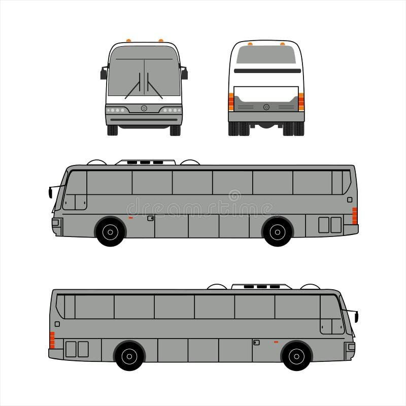 Allgemeiner Bus der Stadt für Anzeigenschablonen-, vordere und Seitenansicht Lokalisierte Vektorillustration mit flachem Farbartd stock abbildung