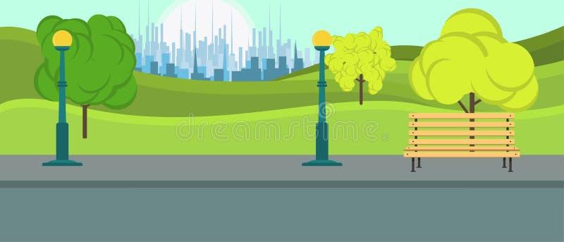 Allgemeiner Park- Cityvektor Freizeitjahreszeit-Umweltlandschaft natürlich mit Bankhintergrund Spielplatzsommerebene entspannen s vektor abbildung
