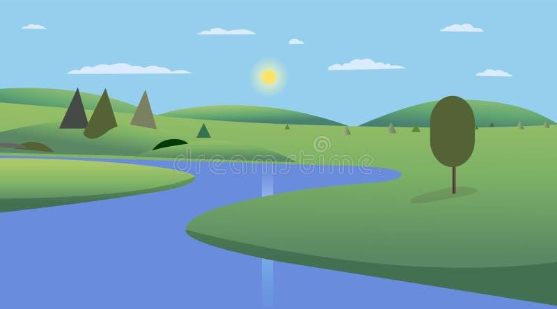 Allgemeiner Park mit Bäumen, Hügeln und Himmelhintergrundentwurf Landschaftsansichtfluß mit Park und Wolkenkratzern stock abbildung