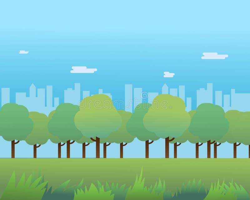 Allgemeiner Park mit Gras- und Stadtbildhintergrund vektor abbildung