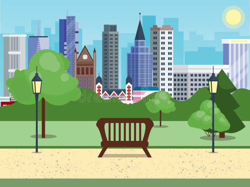 Allgemeiner Stadtpark mit Bankhauptstraßenstadt mit Himmel- und Stadthintergrund Schöne Naturszene mit Stadt und Wald stock abbildung