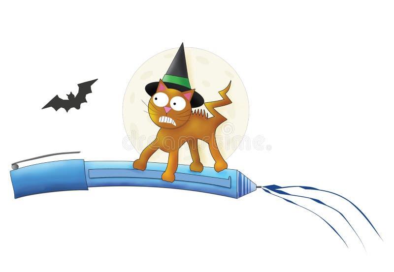 Allhelgonaafton Cat Flying på penna royaltyfri illustrationer