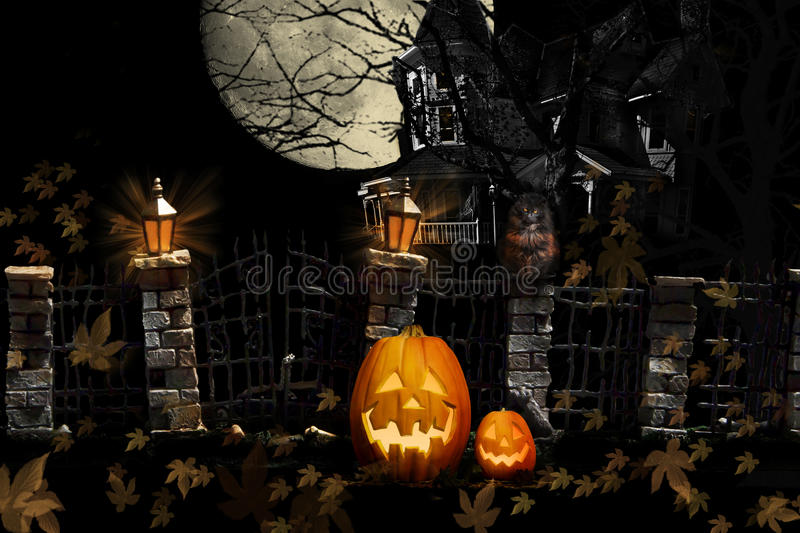 Allhelgonaafton Cat Pumpkins Haunted House arkivfoton