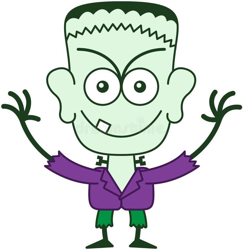 Allhelgonaafton Frankenstein som är busig stock illustrationer