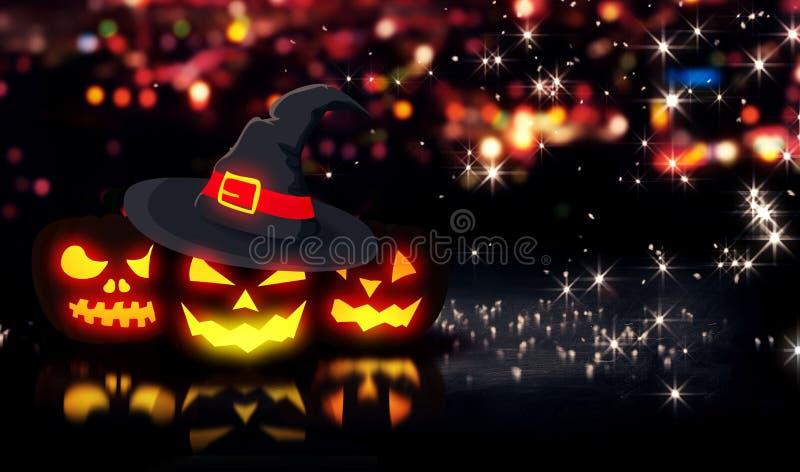 Allhelgonaafton glödande för nattstad för tre pumpor Bokeh bakgrund 3D vektor illustrationer