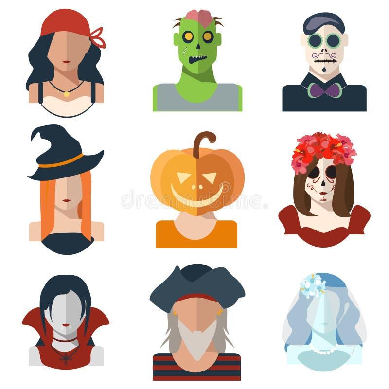 Allhelgonaafton och dag av de döda avatarsymbolerna i plan stil vektor illustrationer