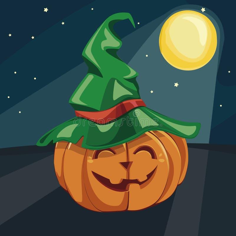 Allhelgonaafton som skrattar pumpa under månskenet också vektor för coreldrawillustration bakgrundstecken halloween som isoleras  stock illustrationer