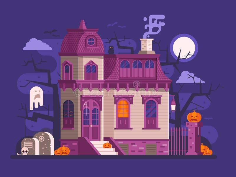 Allhelgonaafton spökad husplats vektor illustrationer