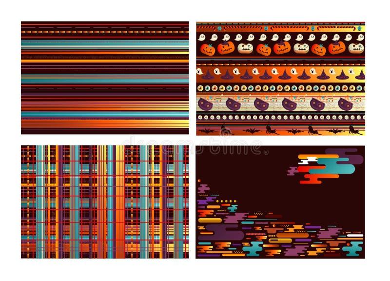 Allhelgonaaftonabstraktionbakgrund med utrymme för din text Pumpa med olika sinnesrörelser på framsidan Bakgrund eller inpackning stock illustrationer
