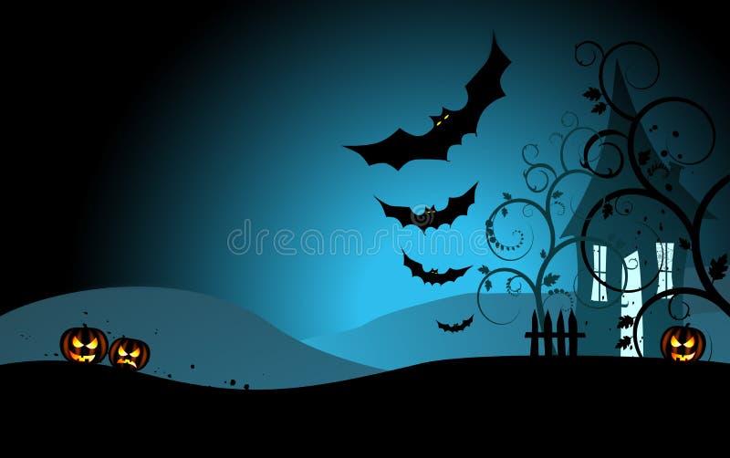 Allhelgonaaftonbakgrund med det läskiga huset stock illustrationer