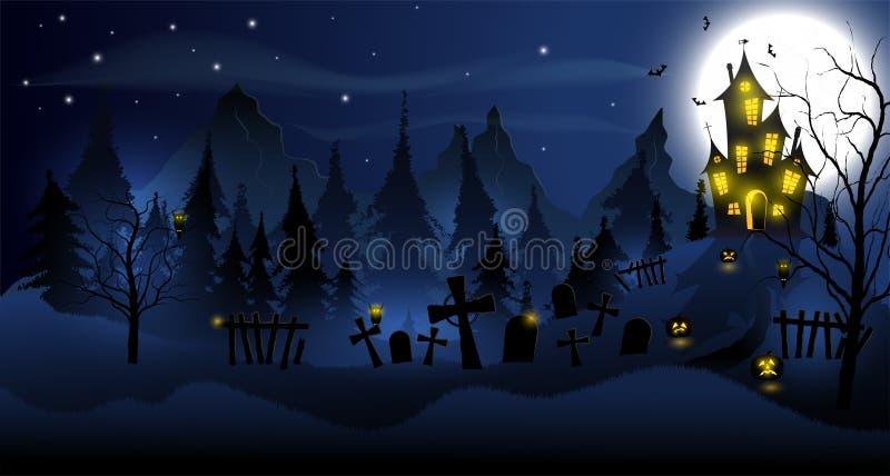 Allhelgonaaftonbakgrund med det spökade huset, gravvalv, skogen och fullmånen stock illustrationer