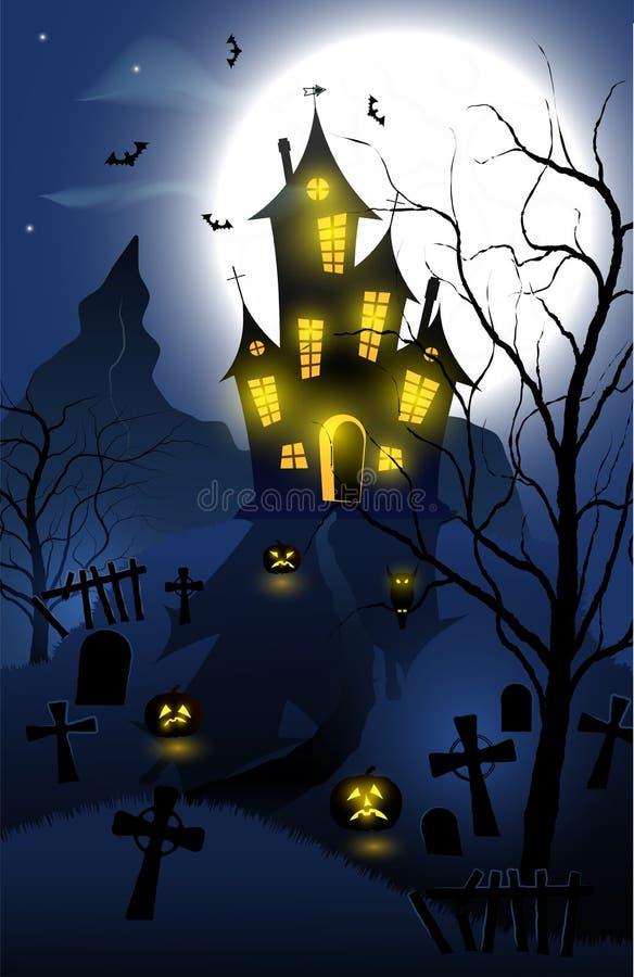 Allhelgonaaftonbakgrund med det spökade huset, gravvalv, skogen och fullmånen royaltyfri illustrationer