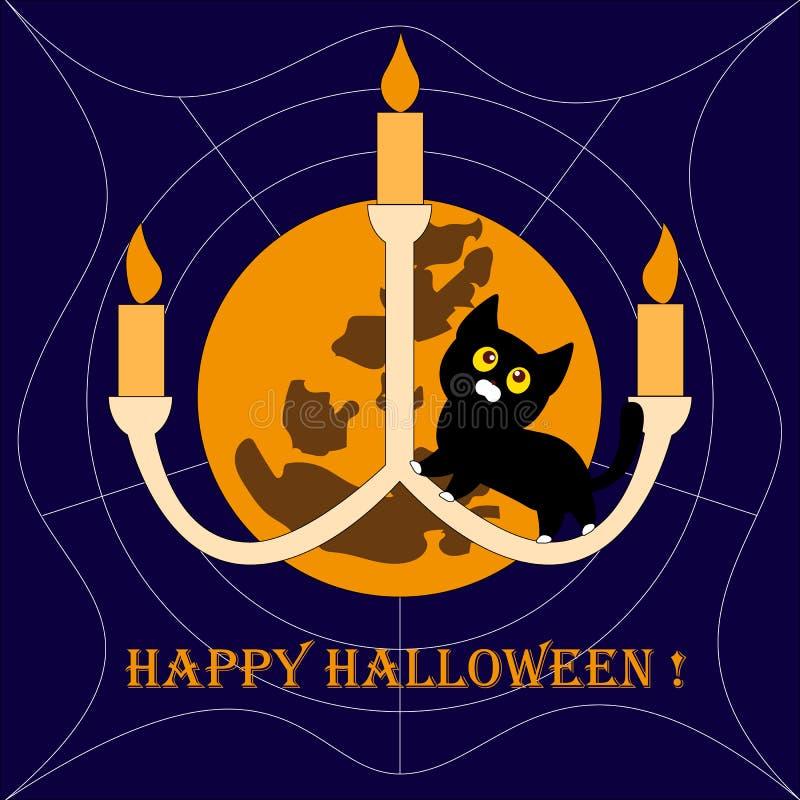 Allhelgonaaftonbakgrund med katten och månen stock illustrationer