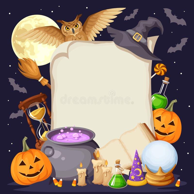 Allhelgonaaftonbakgrund med magiska symboler Vektor EPS-10 stock illustrationer